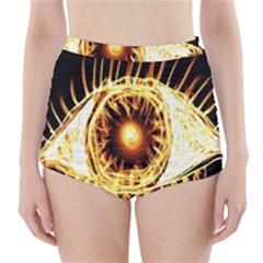 Flame Eye Burning Hot Eye Illustration High-Waisted Bikini Bottoms