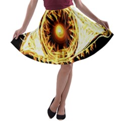 Flame Eye Burning Hot Eye Illustration A-line Skater Skirt
