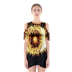 Flame Eye Burning Hot Eye Illustration Shoulder Cutout One Piece