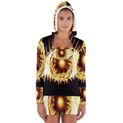 Flame Eye Burning Hot Eye Illustration Women s Long Sleeve Hooded T Shirt