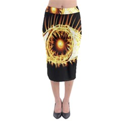 Flame Eye Burning Hot Eye Illustration Midi Pencil Skirt