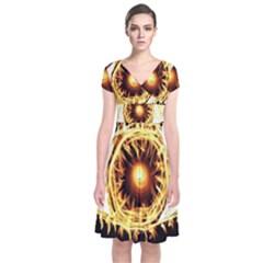 Flame Eye Burning Hot Eye Illustration Short Sleeve Front Wrap Dress