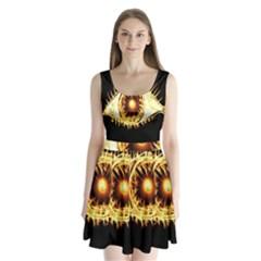 Flame Eye Burning Hot Eye Illustration Split Back Mini Dress