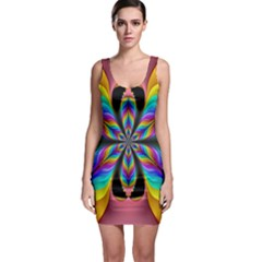 Fractal Butterfly Sleeveless Bodycon Dress