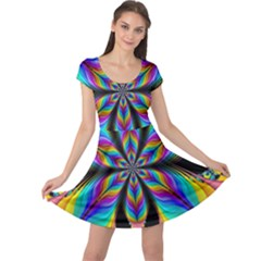 Fractal Butterfly Cap Sleeve Dresses