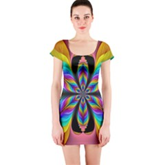 Fractal Butterfly Short Sleeve Bodycon Dress
