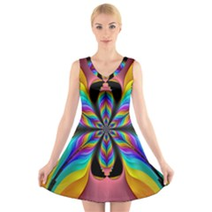Fractal Butterfly V Neck Sleeveless Skater Dress