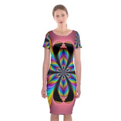 Fractal Butterfly Classic Short Sleeve Midi Dress
