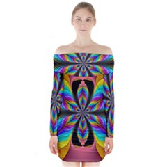 Fractal Butterfly Long Sleeve Off Shoulder Dress