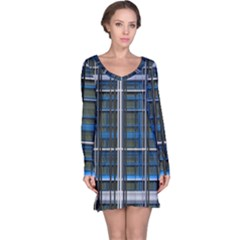 3d Effect Apartments Windows Background Long Sleeve Nightdress