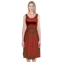 Christmas Kaleidoscope Midi Sleeveless Dress