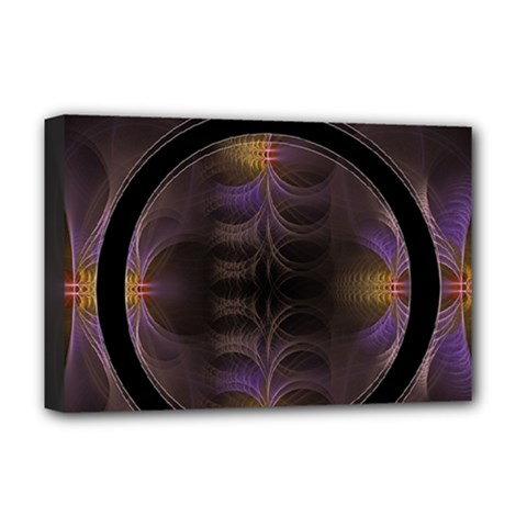 Wallpaper With Fractal Black Ring Deluxe Canvas 18  x 12