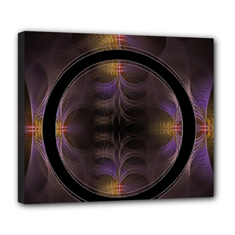 Wallpaper With Fractal Black Ring Deluxe Canvas 24  x 20