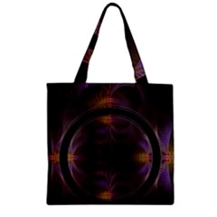Wallpaper With Fractal Black Ring Zipper Grocery Tote Bag