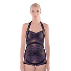 Wallpaper With Fractal Black Ring Boyleg Halter Swimsuit