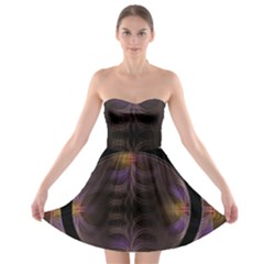 Wallpaper With Fractal Black Ring Strapless Bra Top Dress