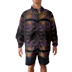 Wallpaper With Fractal Black Ring Wind Breaker (Kids)
