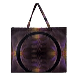 Wallpaper With Fractal Black Ring Zipper Large Tote Bag