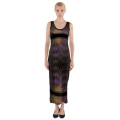 Wallpaper With Fractal Black Ring Fitted Maxi Dress