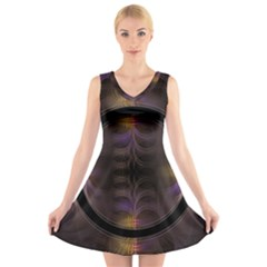 Wallpaper With Fractal Black Ring V Neck Sleeveless Skater Dress