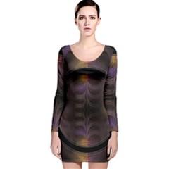 Wallpaper With Fractal Black Ring Long Sleeve Velvet Bodycon Dress