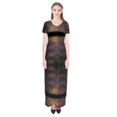 Wallpaper With Fractal Black Ring Short Sleeve Maxi Dress