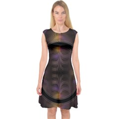 Wallpaper With Fractal Black Ring Capsleeve Midi Dress