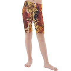 Abstraction Abstract Pattern Kids  Mid Length Swim Shorts