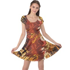 Abstraction Abstract Pattern Cap Sleeve Dresses