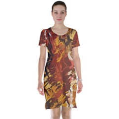 Abstraction Abstract Pattern Short Sleeve Nightdress