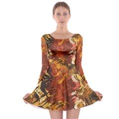 Abstraction Abstract Pattern Long Sleeve Skater Dress