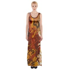 Abstraction Abstract Pattern Maxi Thigh Split Dress