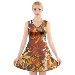 Abstraction Abstract Pattern V-Neck Sleeveless Skater Dress
