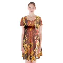 Abstraction Abstract Pattern Short Sleeve V-neck Flare Dress