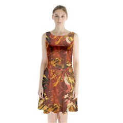 Abstraction Abstract Pattern Sleeveless Chiffon Waist Tie Dress