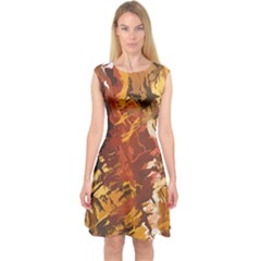 Abstraction Abstract Pattern Capsleeve Midi Dress