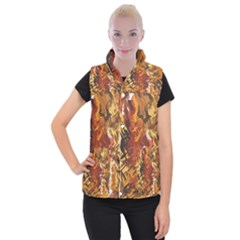 Abstraction Abstract Pattern Women s Button Up Puffer Vest