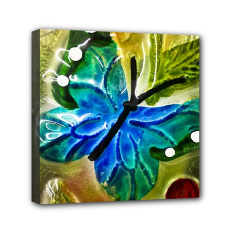 Blue Spotted Butterfly Art In Glass With White Spots Mini Canvas 6  x 6