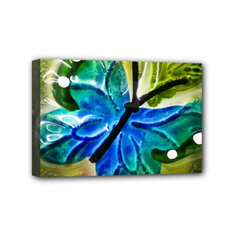 Blue Spotted Butterfly Art In Glass With White Spots Mini Canvas 6  x 4