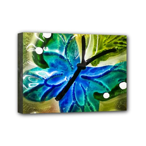 Blue Spotted Butterfly Art In Glass With White Spots Mini Canvas 7  X 5