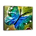 Blue Spotted Butterfly Art In Glass With White Spots Canvas 10  x 8  View1