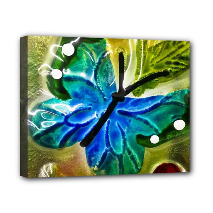 Blue Spotted Butterfly Art In Glass With White Spots Canvas 10  x 8