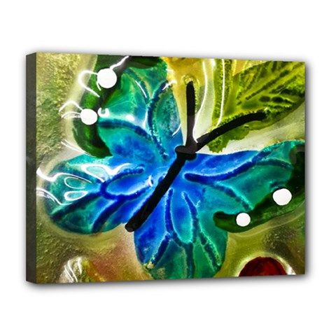 Blue Spotted Butterfly Art In Glass With White Spots Canvas 14  x 11