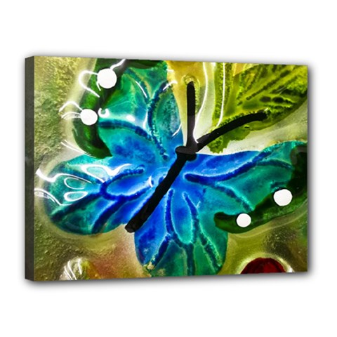 Blue Spotted Butterfly Art In Glass With White Spots Canvas 16  x 12