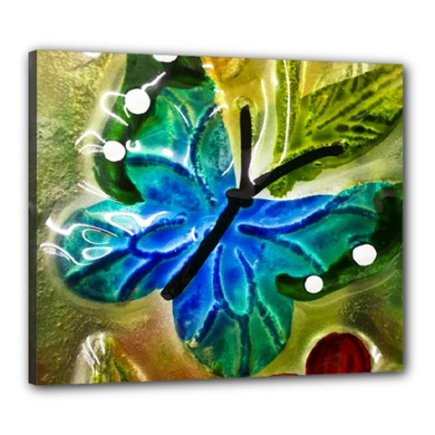 Blue Spotted Butterfly Art In Glass With White Spots Canvas 24  X 20