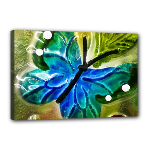 Blue Spotted Butterfly Art In Glass With White Spots Canvas 18  x 12