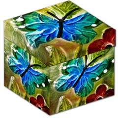 Blue Spotted Butterfly Art In Glass With White Spots Storage Stool 12