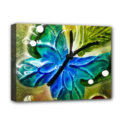Blue Spotted Butterfly Art In Glass With White Spots Deluxe Canvas 16  X 12