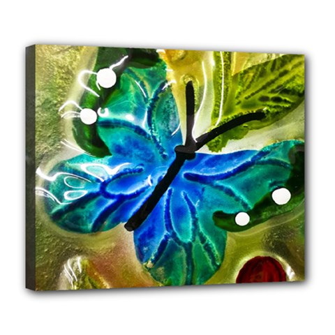 Blue Spotted Butterfly Art In Glass With White Spots Deluxe Canvas 24  X 20