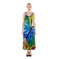 Blue Spotted Butterfly Art In Glass With White Spots Sleeveless Maxi Dress